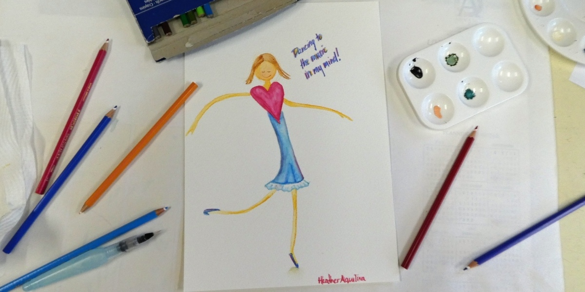 Color pencil drawing of girl dancing with heart