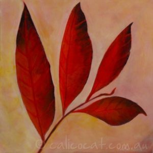 Abstract acrylic painting of autumn leaves