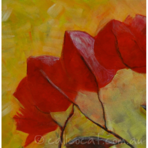 Abstract acrylic painting of bougainvillea flowers