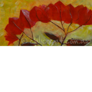 Abstract acrylic painting of a spray of bougainvillea flowers