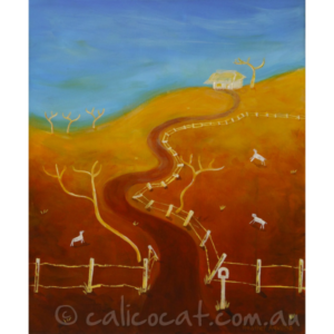 Abstract acrylic painting of a house on a hill in rural Australia