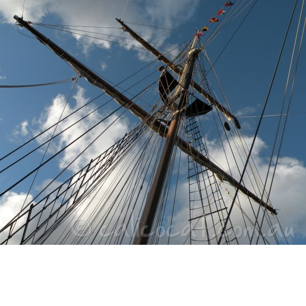 Photo of a sailing ship mast