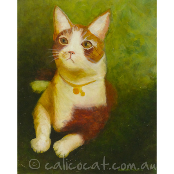 Acrylic painting of a ginger and white cat.