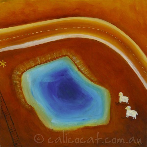 Abstract acrylic painting of an Australian outback scene with a dam and sheep