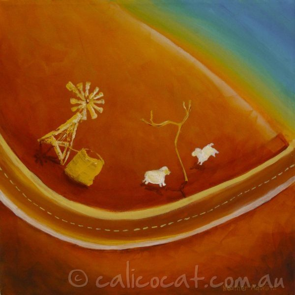 Abstract acrylic painting of an Australian outback scene containing a windmill