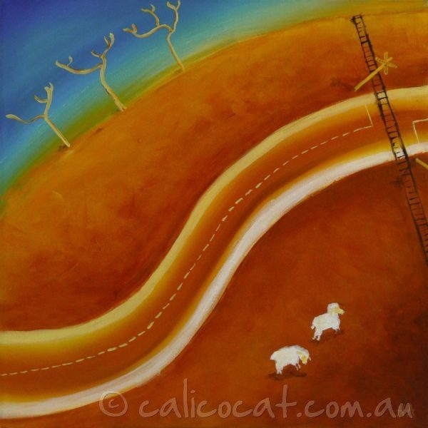 Abstract acrylic painting of an Australian outback scene containing a railway