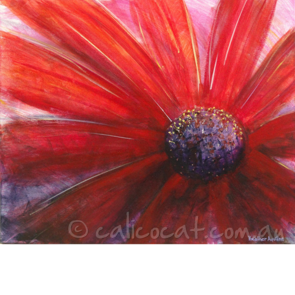 Abstract acrylic painting of a red daisy