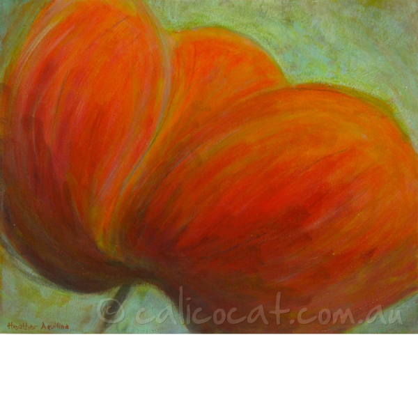 Abstract acrylic painting of a red poppy on green background