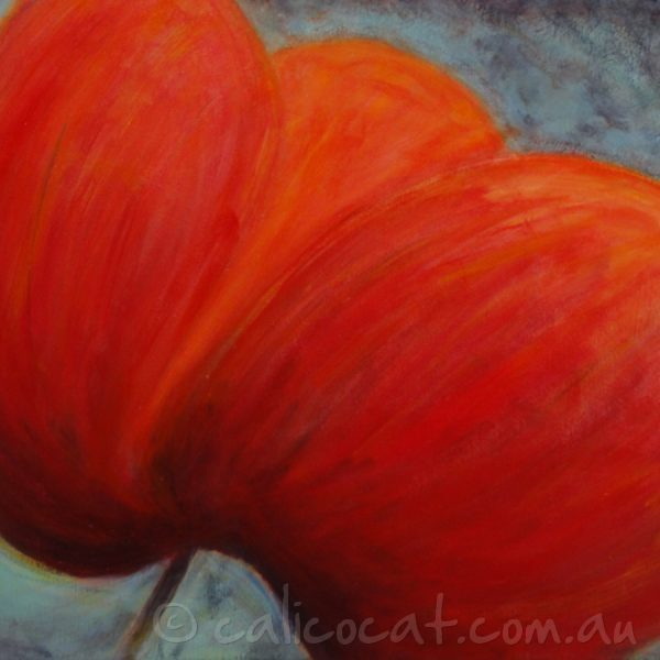 Abstract acrylic painting of a Red Poppy on a dark background