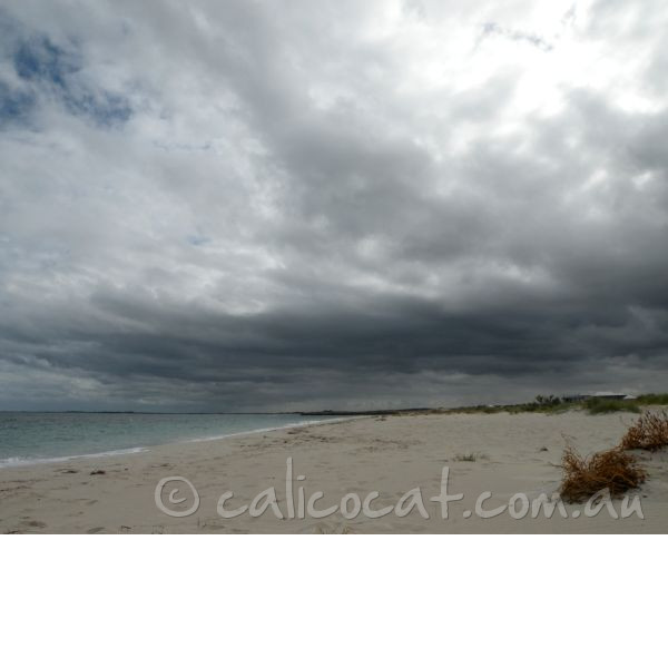 Photo of a beach with storm clouds