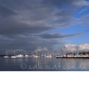 Photo of yachts in a marina with heavy cloud