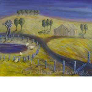 Abstract acrylic painting of a rural Australian scene with sheep and a dam